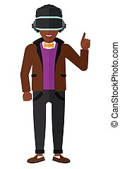 Man in oculus rift. - An african-american man wearing a...