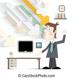 Man in Office in Suit with Paper Cut Arrows and Table Vector Illustration