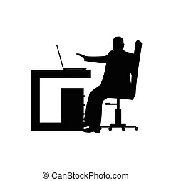 man in office silhouette illustration
