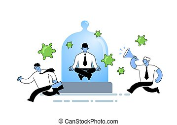 Man in office suit meditating under a glass dome while people running around panicking. Self-quarantine, stay home concept. Flat vector illustration, isolated on white background.