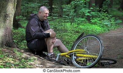 man, in, ongeluk, met, fiets