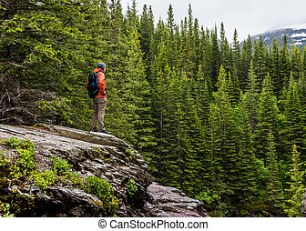 Man in Orange Coat Looks out over Pine Forest