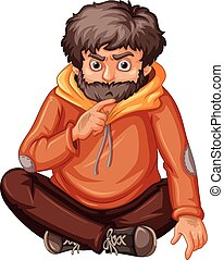 Man in orange sweatshirt sitting illustration
