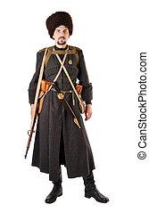 man, in, ouderwetse , kostuum, van, russische , cossack.,...