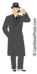 man in overcoat making a gesture