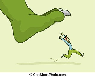 Man in panic escaping from giant monster step - Cartoon...