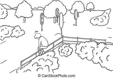 man in park - man alone in park, vector illustration