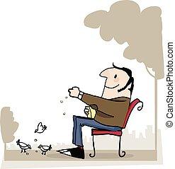 Man in p[ark feeding birds