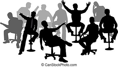 man in suit sitting and thinking vector illustration Sitting Alone Cartoon man in position sitting