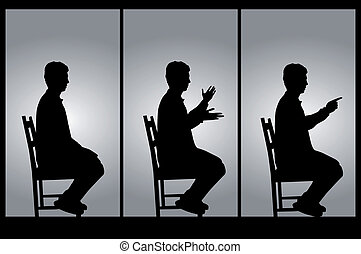 Man in position sitting