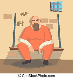 Man In Prison Vector. Bandit Arrested And Locked. Isolated...