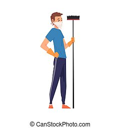 Man in Protective Mask Standing with Broom, Household Activity, Housekeeping, Everyday Duties and Chores Cartoon Vector Illustration Isolated in White Background.