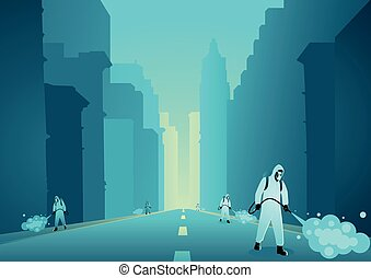 Vector illustration of a man in protective suit spraying disinfectant in empty city to cleaning and disinfect virus, Covid-19, Coronavirus, preventive measure