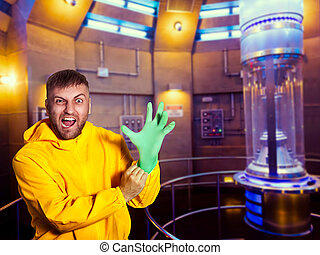 Man in protective suit putting on a rubber glove