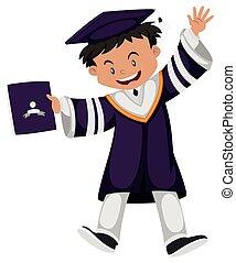 Man in purple graduation outfit illustration