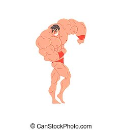 Man In Red Briefs And Wristlets Bodybuilder Funny Smiling Character On Steroids Demonstrating Muscles As Strongman Routine