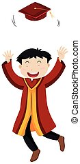 Man in red graduation gown