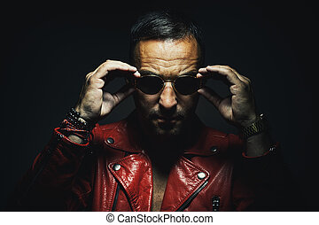 Man in Red Leather Jacket