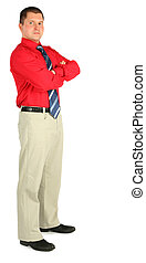 man in red shirt isolated on white background