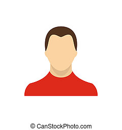 Man in red sweater icon, flat style