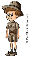 Man in safari outfit with happy face
