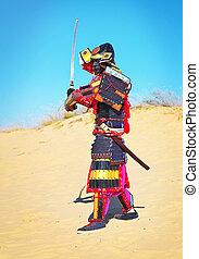 man, in, samurai kostuum, met, zwaard, rennende , op, de,...