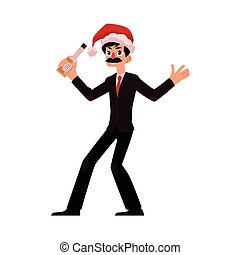 Man in Santa Claus hat blowing whistle, corporate Christmas...