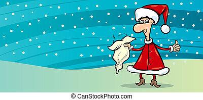 man in santa costume greeting card