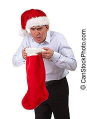 Man in Santa Hat Sick into Stocking