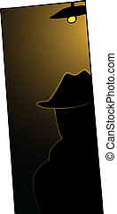 Man in Shadows - A man with trench-coat and hat back-lit in...