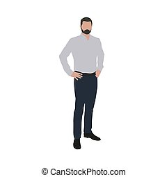 Man in shirt standing with hands on hips. Business man...