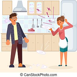 Man in shock looks at his wife. Woman scandals and beats dishes on kitchen background. Bad luck and stressful situations concept. Flat Art Vector illustration