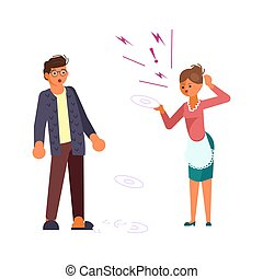 Man in shock looks at his wife. Woman scandals and beats dishes on white background. Bad luck and stressful situations concept. Flat Art Vector illustration