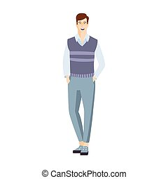 Man In Shortened Trousers With HAnds In Pockets Part Of The Collection Of Young Professional People Office Style And Street Fashion Looks