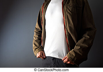 Man in showing white t shirt under his jacket