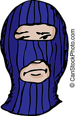 Man in Ski Mask - Person pin-striped ski mask over white ...