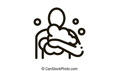 man in soap suds Icon Animation. black man in soap suds animated icon on white background