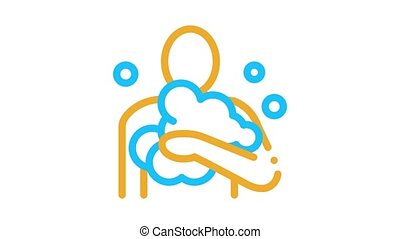 man in soap suds Icon Animation. color man in soap suds animated icon on white background