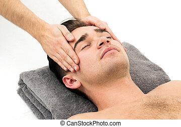 man, in, spa, salon