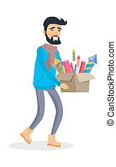 Man in Sportswear Carries Carton Box of Fireworks