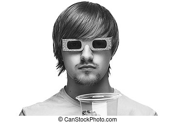 man in stereo glasses with popcorn - young man in stereo...