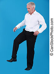 Man in stomping position