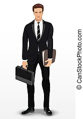 Man in stylish suit. Businessman. Detailed male character. Vector illustration