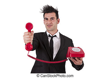 man in suit and phone cord