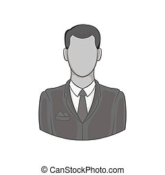 Man in suit avatar icon, black monochrome style