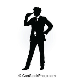 man in suit drinking