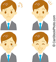 man in suit, expressions