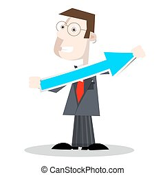 Man in Suit Holding Paper Arrow. Vector Business Success Symbol.