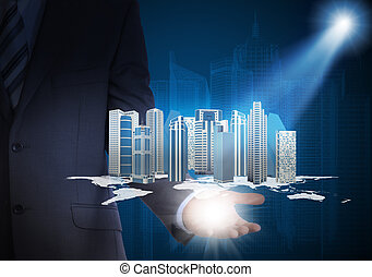 Man in suit holding skyscrapers in the hand