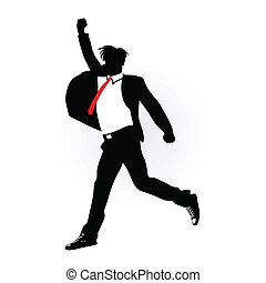 man in suit jumping vector